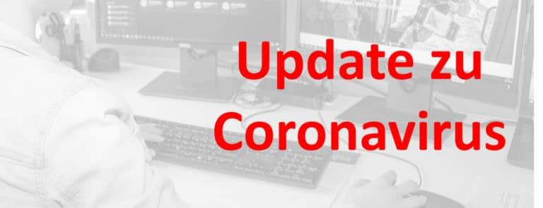 Schriftzug Update zu Coronavirus
