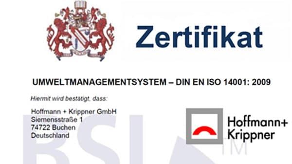 Zertifikatsausschnitt Umweltmanagementsystem