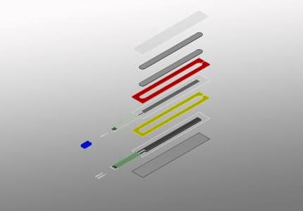Explosionszeichnung eines linearen Magnet Folienpotentiometers