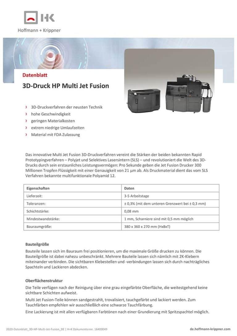 Datenblatt 3D-Druck HP Multi Jet Fusion