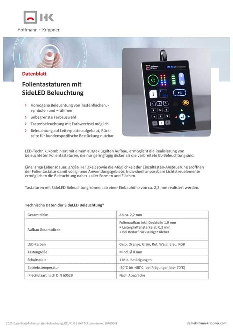 Datenblatt Folientastaturen mit SideLED Beleuchtung