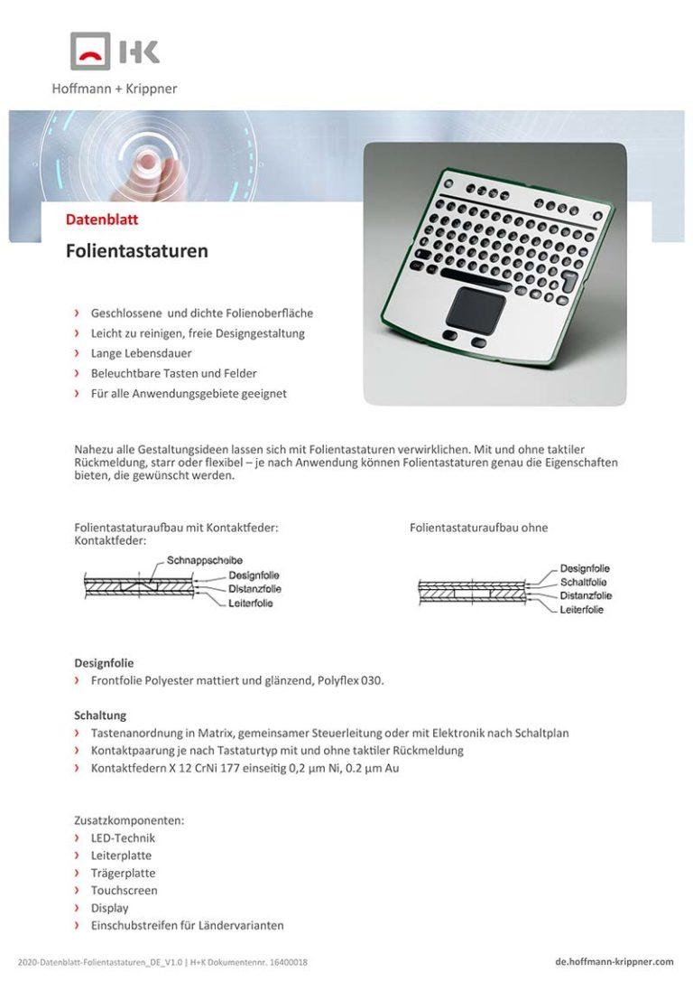 Datenblatt Folientastaturen