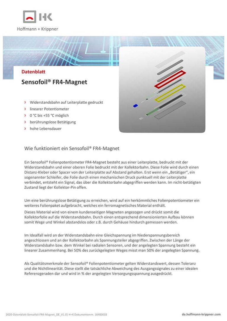 Datenblatt Sensofoil FR4-Magnet