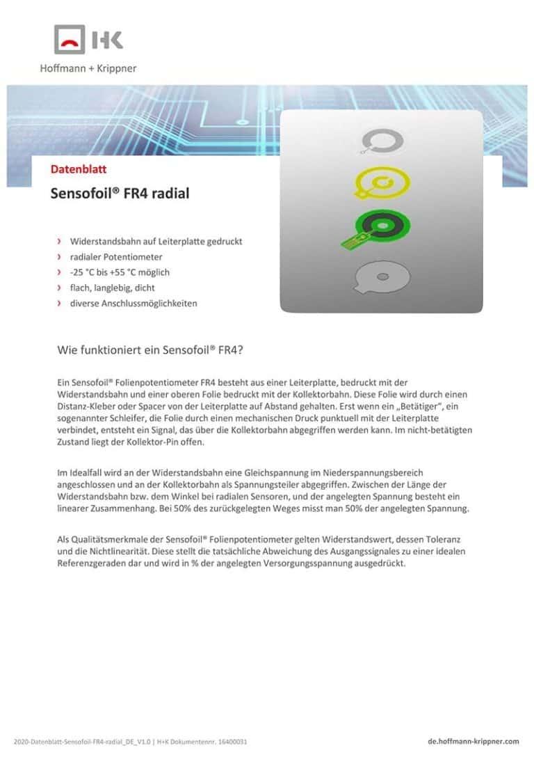 Datenblatt Sensofoil FR4 radial