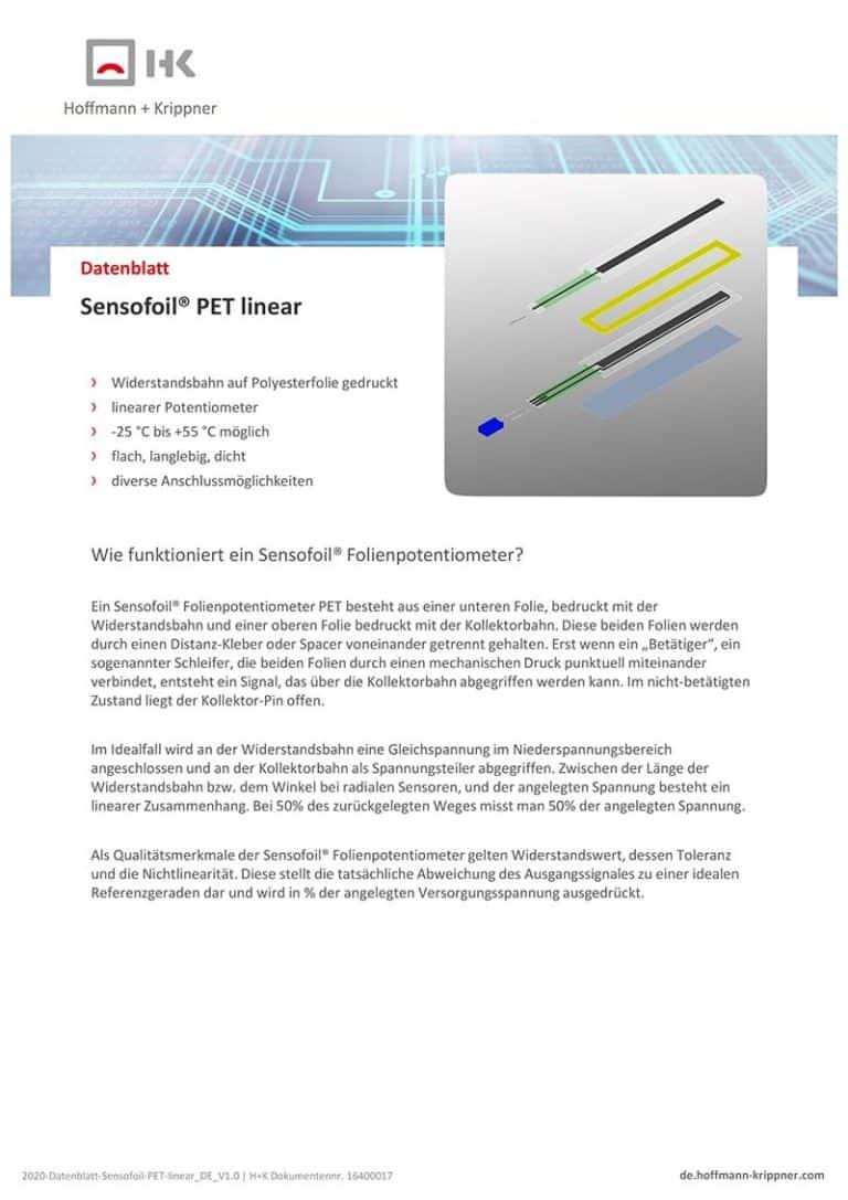Datenblatt Sensofoil PET linear