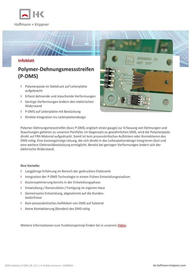 Datenblatt Polymer-Dehnungsmessstreifen