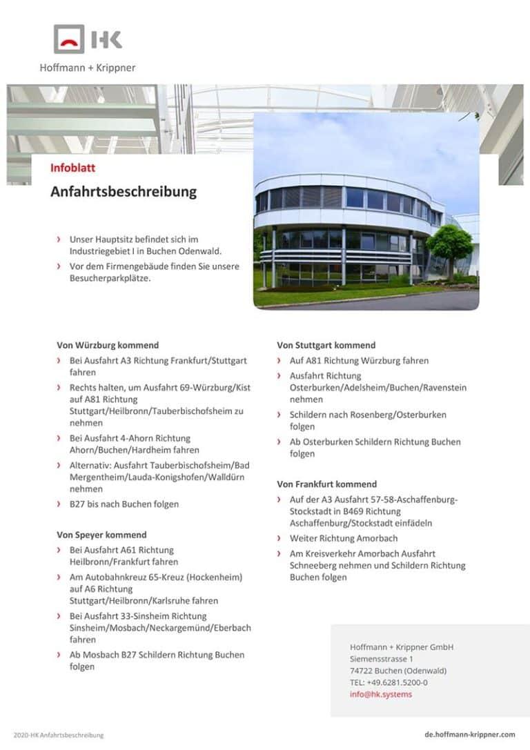 Anfahrtsbeschreibung zu Hoffmann + Krippner