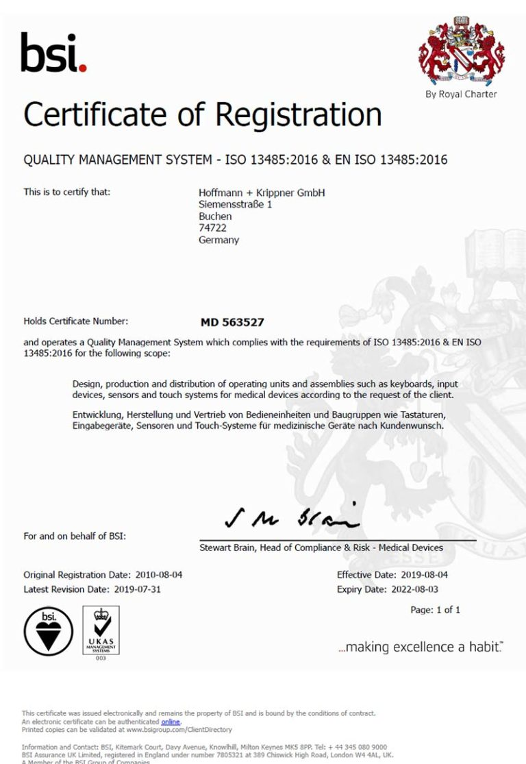 BSI Zertifikat ISO 13485