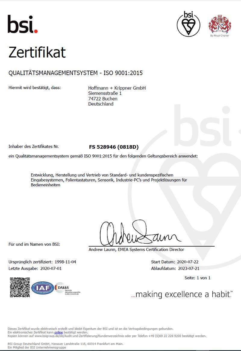 BSI Zertifikat ISO 9001
