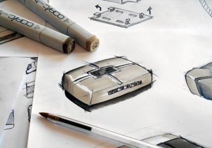 Gehäuse auf Papier gezeichnet